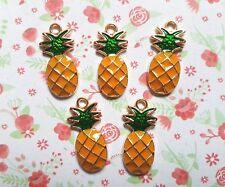5pcs x Cute Pineapple Enamel Gold Alloy CHARM Pendants DIY Jewellery