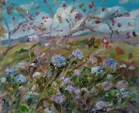 Rosehips & Scabius, Wensleydale.  Impressionism. Oil painting. Yorkshire Dales