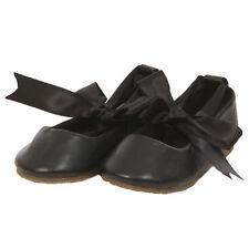 BLACK Ballerina Shoes Ballet Flower Girl Ribbon Tie Baptism Holy Communion Flats