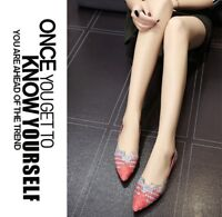 Vintage Style Chic Knitted Leather Red Gray Flats Ladies Non-slip Shoes EU 39