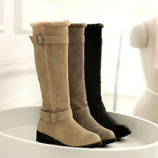 Women Winter Warm Casual Knee High Boots Snow Boots Buckle Round Toe Shoes Uk