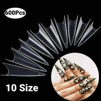 600pcs Artificial Extra Long False Nail Tips Clear UV Gel Nail Art