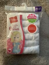 Hanes Toddler Girls Tagless Briefs 6 Pack White Size 2T - 3T New