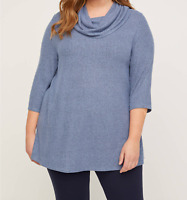 Catherines NWT Slate Blue Marbled Long Comfy Stretch Tunic Top Plus 5X 34W 36W
