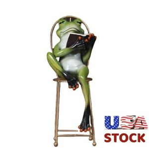 """FROG 9"""" SCULPTURE FIGURINE RESIN- FROG ON CHAIR WITH BOOK🐸🐸USA STOCK"""