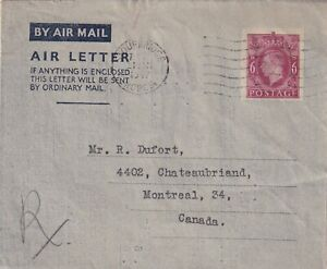 GREAT BRITAIN 1947 GEORGE VI AIR LETTER TO CANADA !! A26