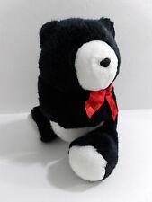 "1990 Hallmark Heartline Plush Stuffed Black White Hug Bear Toy Animal 8"""