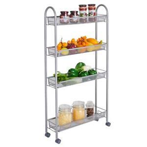 Spice Rack 4Tier Slide Out Storage Holder Rolling Metal Trolley Cart for Kitchen