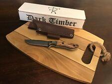 Dark Timber Knives Tavi -Satin AEBL- Black Ash Burl/Green Micarta -White Liners