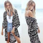 Summer Women Vintage Floral Loose Shawl Kimono Cardigan Boho Tops Jacket Blouse