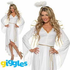 Angel Costume + Wings Nativity Womens Ladies Christmas Xmas Fancy Dress Outfit
