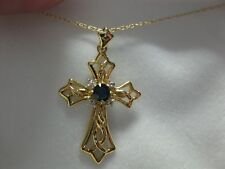 14 KT Gold Cross Necklace with  Sapphire  and Diamonds 18 in NIB