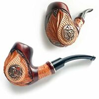 Tobacco Smoking Pipe, Hand Carved, Pear Wood (9mm filter) + Pouch      Dr.Watson
