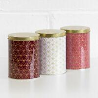 Set of 3 Round Geometric Storage Canisters Tea Coffee Sugar Jars Containers Tins