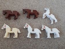 JOB LOT OF 6 x LEGO HORSES FOR STABLE FARM CASTLE BROWN WHITE MOVING LEG HEADS
