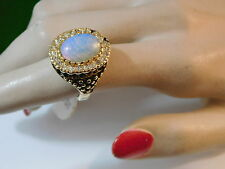 Huge size 7 Y Gold Cocktail Ring Opaline Glass Rhinestone Signet style 3a 95