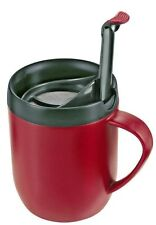 Zyliss Cafetiere Hot Mug One Cup Coffee Double Walled Splash Lid Red Smart Cafe