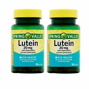 [2-Pack] Spring Valley Lutein with Zeaxanthin Softgels, 20 mg, 90 Count X2