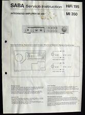 SABA HiFi 195 - Amplifier MI 350 Schaltbild Ersatzteilliste Service-Instruction