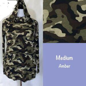 LuLaRoe Amber Hoodie Medium Camouflage Camo Print NWT