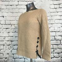 Ann Taylor Loft Women's Sweater Knit Tan Lace Up Boat Neck Size XS