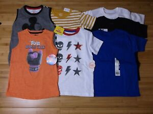 New LOT 7 t-shirt & tank tops BOY 4-5 5T solid colors stripes graphic