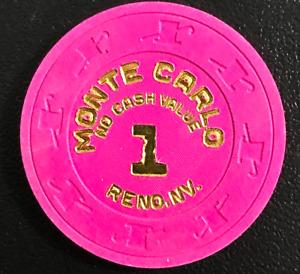$1 MONTE CARLO NO CASH VALUE RENO NEVADA CASINO POKER CHIP NICE HOT STAMP GD