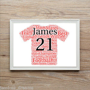 Football Shirt Manchester United Personalised A4 Word Art Print Gift Present
