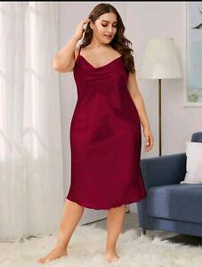 **Brand New Plus Size Shein Red Satin Dress**