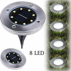 LED Solar Disk Lights Buried Light Garden Under Ground Waterproof White 1 Pack
