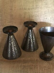 Three Heavy Hand Hammered Sterling (950) Cups As Found. Weight 226.18 Grams