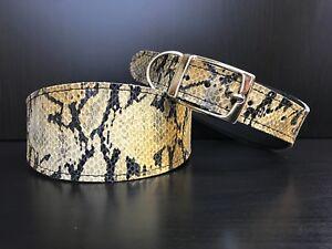 LARGE Leather Dog Collar LINED Greyhound Lurcher Whippet Saluki KHAKI SNAKE SKIN