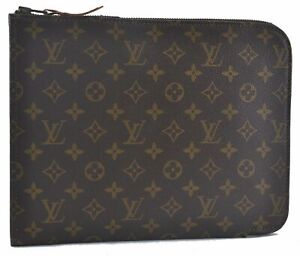 Authentic Louis Vuitton Monogram Poche Documents Brief Case Old Model LV A8030