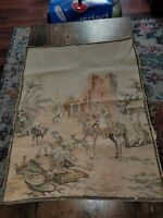 Vintage Tapestry Middle Eastern Arabic Marketplace Scene