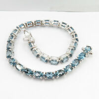 Free Shipping Tennis Bracelet ! Natural London Blue Topaz ! 925 Sterling Silver