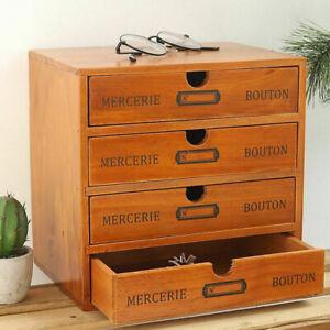 Vintage 4 Layers Wooden Storage Box Drawers Jewelry Display Box Organizer Gift