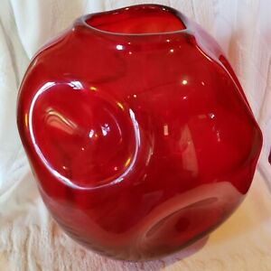UNIQUE HAND BLOWN RED GLASS VASE WITH Indented Crater Holes