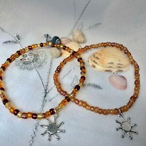 New Sun Charm Beaded Anklet ~ Stretch ~ Surfer Beach Boho Chic ~ Ankle chain