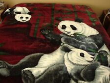 "Panda Blanket 78"" x 94.5"" Reversible Noble Quality High-Ron Korean Plush Finish"