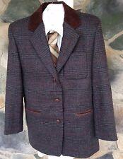 NWT Express Mens Large Wool Plaid Blazer Jacket Green Blue Suede Collar
