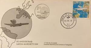 L) 1978 BRAZIL, 50 YEARS OF RAID SAVOIA-MARCHETTI, AIRPLANE, MAP, FDC