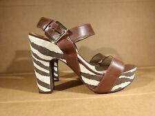Michael Michael Kors Womens Leather Platform Zebra Print Sandals Brown Sz 6.5 M