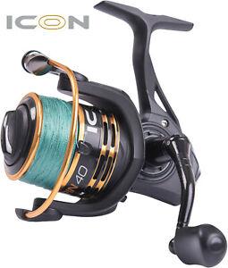 Leeda ICON Compact Spinning Reel Loaded w/ 20lb Braid Fishing Reels Size 40 / 50