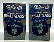 More details for 2 x dead mans fingers spiced rum skull glasses - pub bar home two pair dark