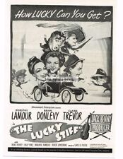 """1949 """"The Lucky Stiff"""" Dorothy Lamour Brian Donlevy Vtg Movie Print Ad"""