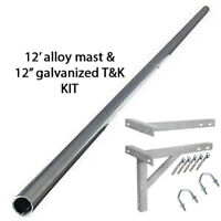 """12' ft foot alloy mast aerial mounting pole and 12"""" T&K GALVANIZED wall bracket"""