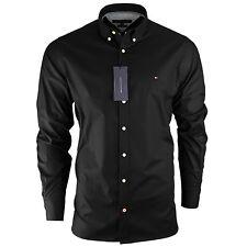Men's Tommy Hilfiger Plain Shirt Long Sleeve Slim Fit Size S M L XL XXL Black 2xl