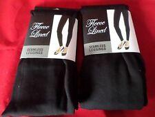 2 Pair Gold Medal  Seamless Womens Fleece Leggings Black Large/Extra Large