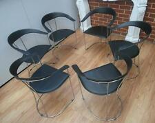 Vintage RETRO Black FUNKY Leather & CHROME Dining CHAIRS Made in ITALY Adelaide