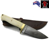 Handmade Hunting Knife, Damascus Blade, Camel Bone Handle, Leather Sheath
